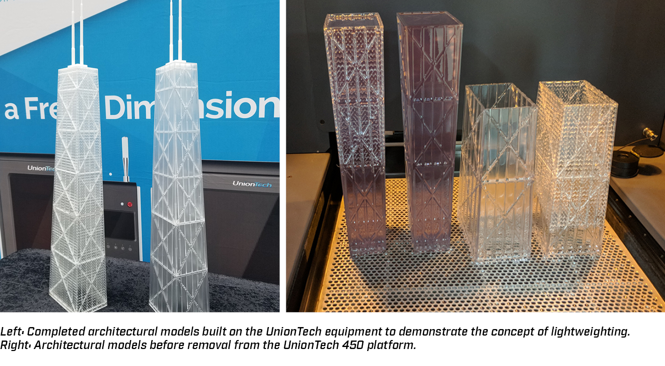Completed architectural models built on UnionTech equipment to demonstrate lightweighting