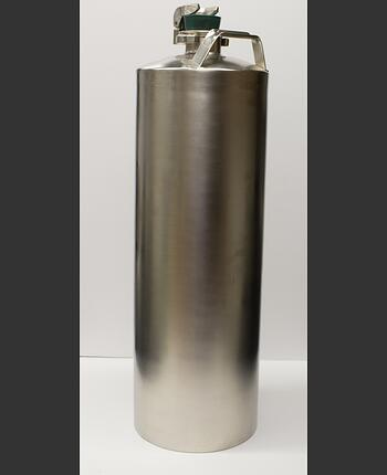Replicated mumps vaccine canister with metal-coated finish on display at the Merck Museum