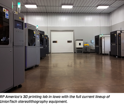 Full lineup of UnionTech stereolithography 3D printing equipment at RP America headquarters
