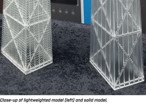 Close up of lightweighted model compared to solid model