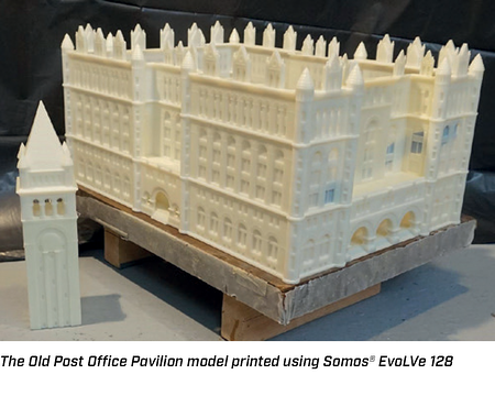 Old Post Office Pavilion model printed with Somos EvoLVe