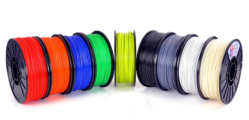 3D printer filament in a variety of colors