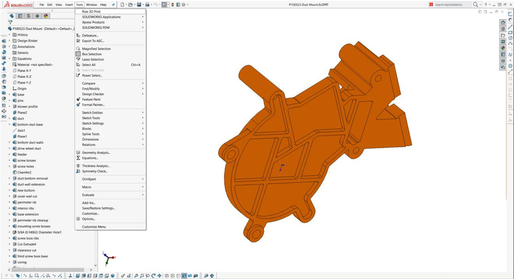 Screen shot of a 3D part in SOLIDWORKS
